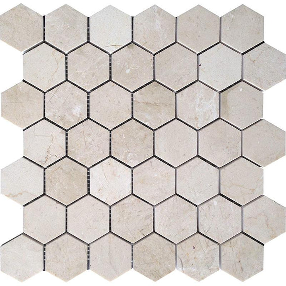 Crema Marfil 2 Inch Hexagon Honed Marble Mosaic Tile position: 1