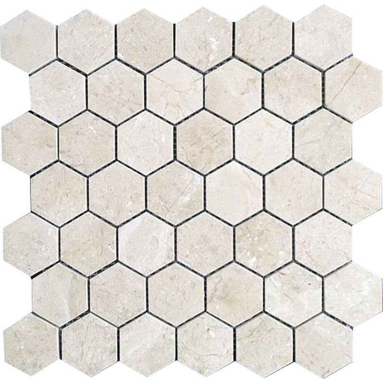 Crema Marfil 2 Inch Hexagon Polished Marble Mosaic Tile position: 1