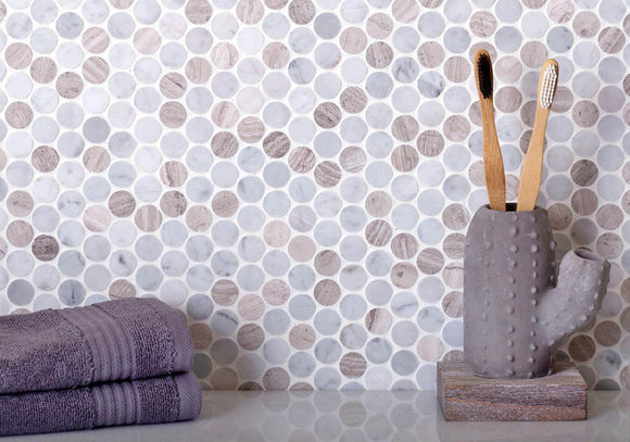Crema Marfil & Asian White Penny Marble Mosaic Tile