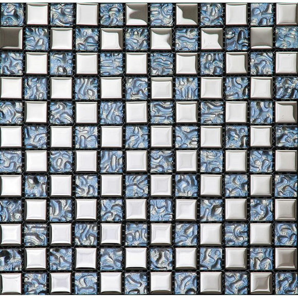 Tile Club | Crystile Blue Glass Mosaic Wall & Floor Tile position: 1