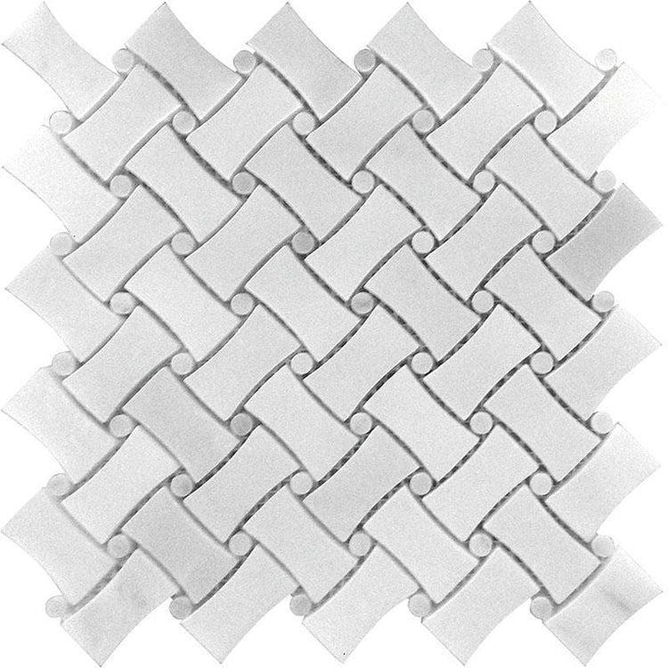 TileClub| Curved Basket Weave Asian White Marble Mosaic Tile position: 1