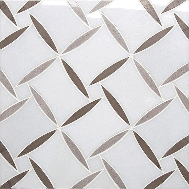Paper White And Eastern Beige Daisy Mosaic Tile