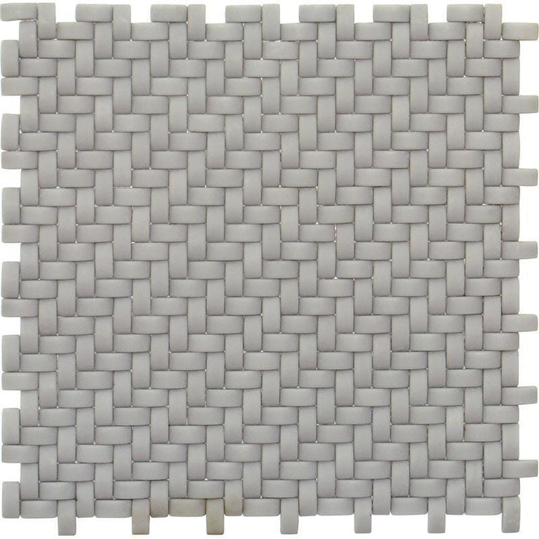 Dark Grey Recycled Glass Basket Weave Mosaic Tile | Tile Club | Position1