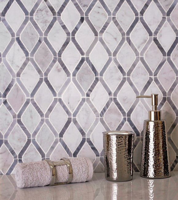 Diamonds Carrara White & Bardiglio Mosaic Tile