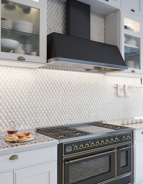 Duomo 3D Diamond Carrara Mosaic Tile Kitchen Backsplash