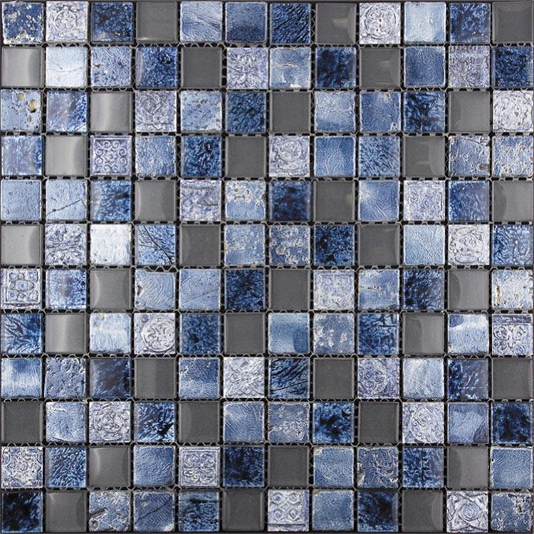 "11.7"" x 11.7"" Eclectic Blue Square Mosaic Tile 