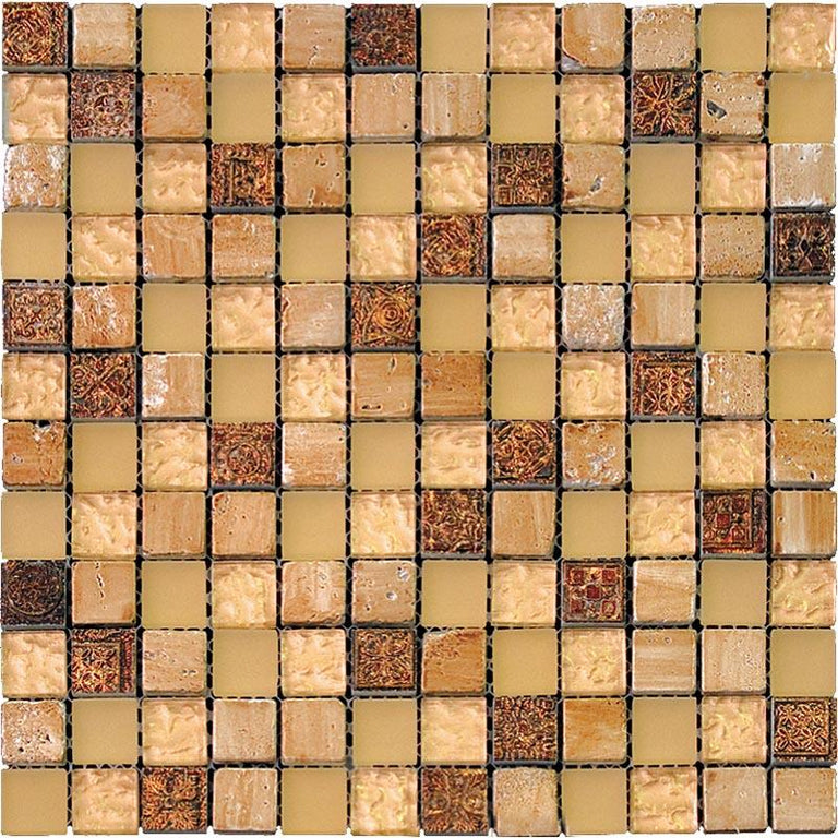 "11.7"" x 11.7"" Eclectic Gold Square Mosaic Tile 