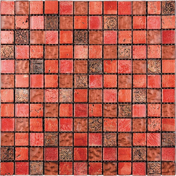 "11.7"" x 11.7"" Eclectic Red Square Mosaic Tile 