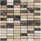 Elada Emperador Dark & Travertine Marble Mosaic Tile position: 1