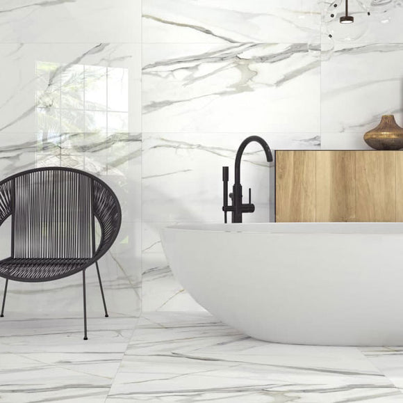 Large Format Polished Calacatta Marble Porcelain Tile Bathroom Walls and Floors 24x48