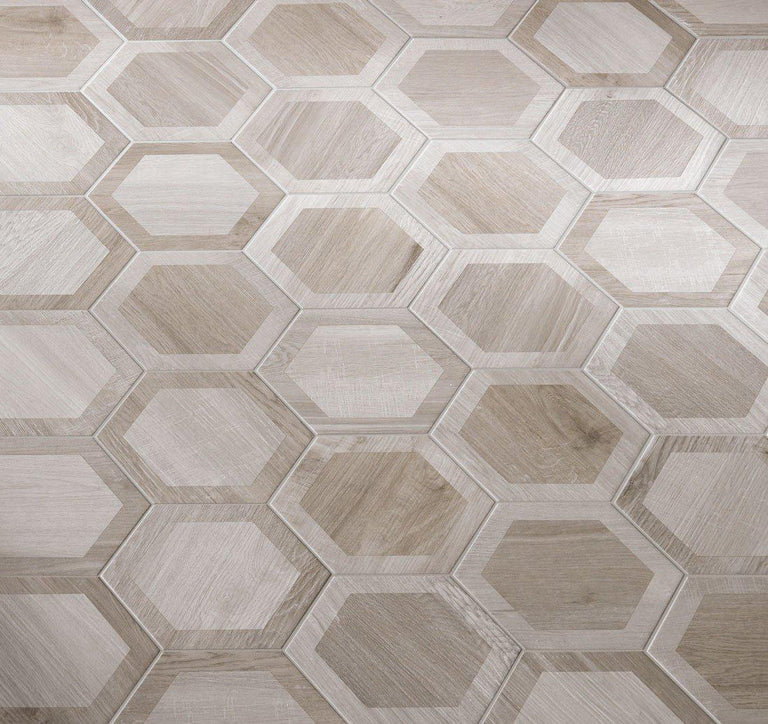 Silvered Wood Look Tile Flooring with Porcelain Hexagon Pattern