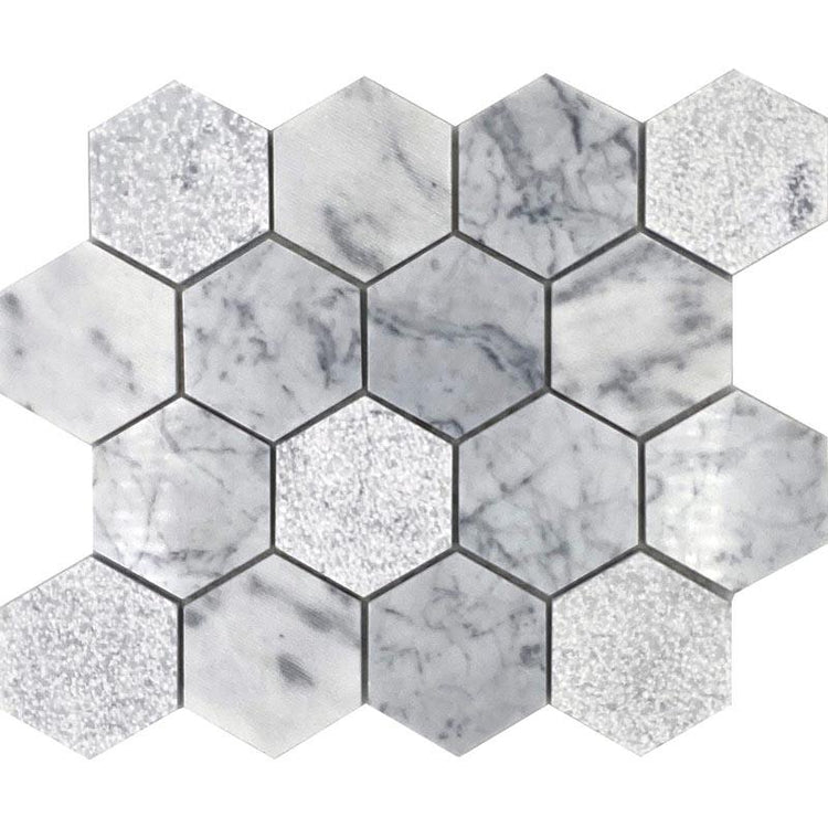 Etched Carrara Hexagon Marble Mosaic tile