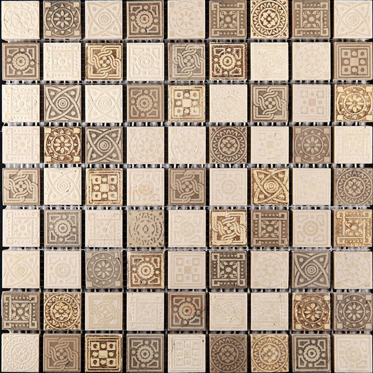 "12"" x 12"" Ethnic Gold Etched Mosaic Tile 