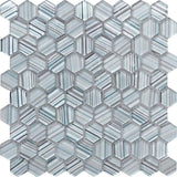 Fabrique Blue Grey Hexagon Glass Mosaic Tile | Tile Club | Position1