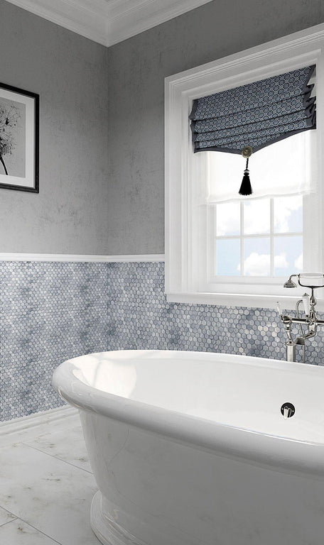 Fabrique Blue Grey Hexagon Glass Mosaic Tile Bathroom Wall