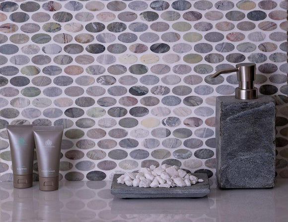 Fantasy Ovals Tumbled Marble Mosaic Tile Position: 1