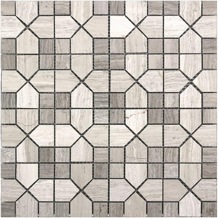 Geo Hexagon Wooden Beige Marble Mosaic Tile | Tile Club | Position1