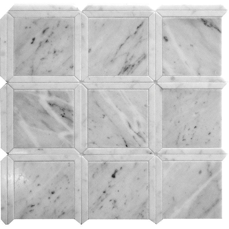 Geo Square White Carrara Marble Mosaic Tile | Tile Club | Position1