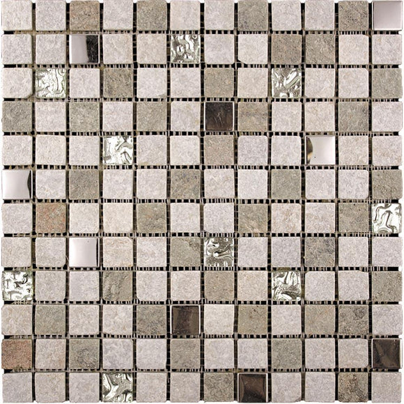 Tile Club | Geological Silver Mosaic Wall & Floor Tile position: 1