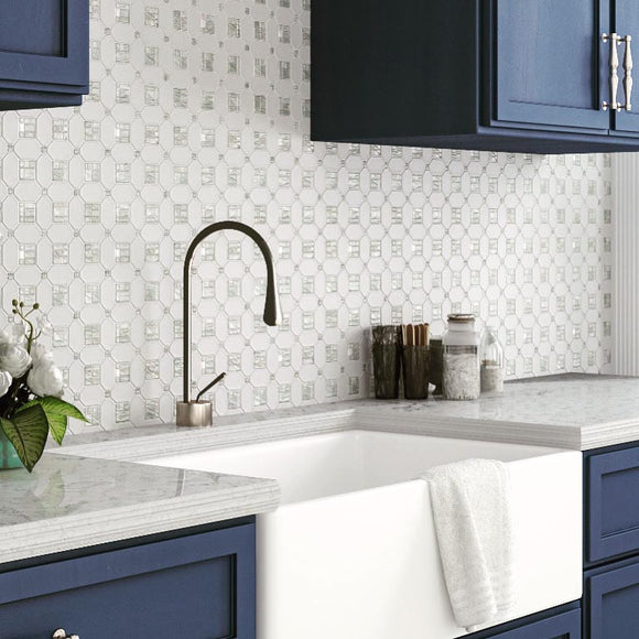 White Farmhouse Kitchen with Blue Cabinet Paint and Marble Tile Backsplash