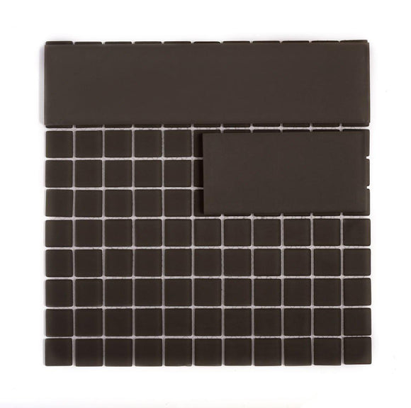 Glacier Ash Gray Frosted Glass Mosaic Tile in 1x1 Squares