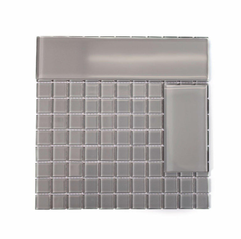Glacier Aura Gray 3X6 Polished Glass Tile Position: 2