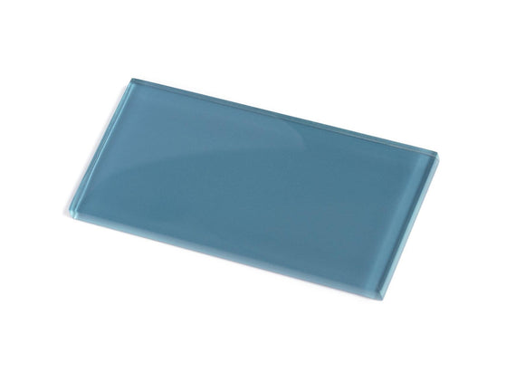 Glacier Laguna Blue 3X6 Polished Glass Tile Position: 1