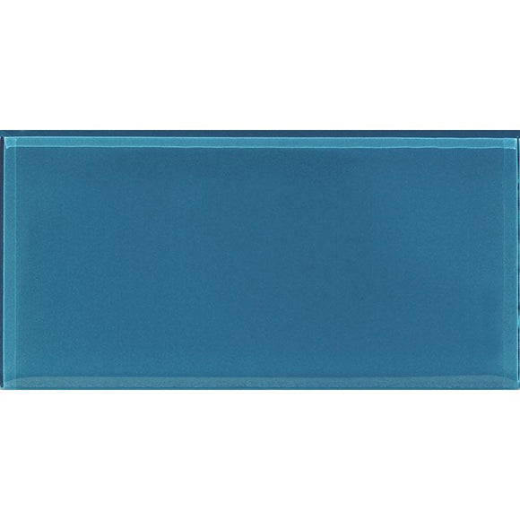 3x6 Polished Blue Glass Tile
