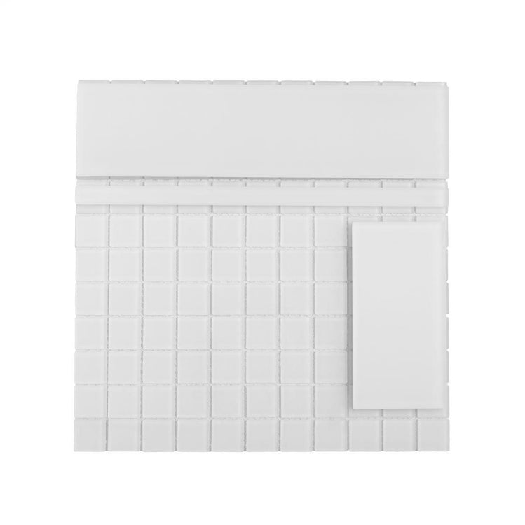 Glacier Pure White 3X6 Frosted Glass Tile Position: 1