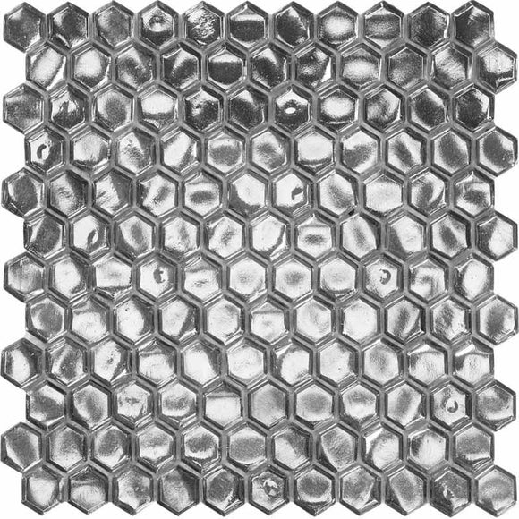 Glossy Silver Hexagon Glass Mosaic Tile | Tile Club | Position1