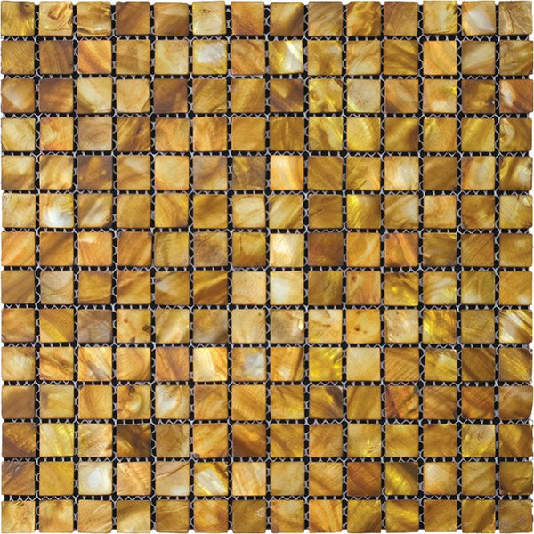 """Gold Mother Of Pearl 1"""" Square Mosaic Tile"""