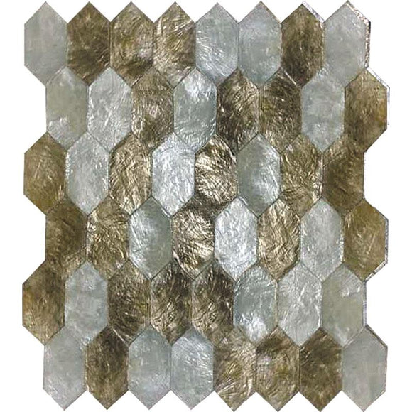 Gold & White Mother Of Pearl Hexagon Mosaic | Tile Club | Position1