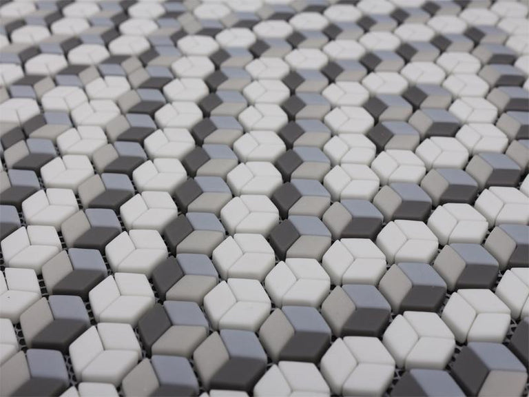 Grey and White Mix Diamond Recycled Glass Mosaic Tile