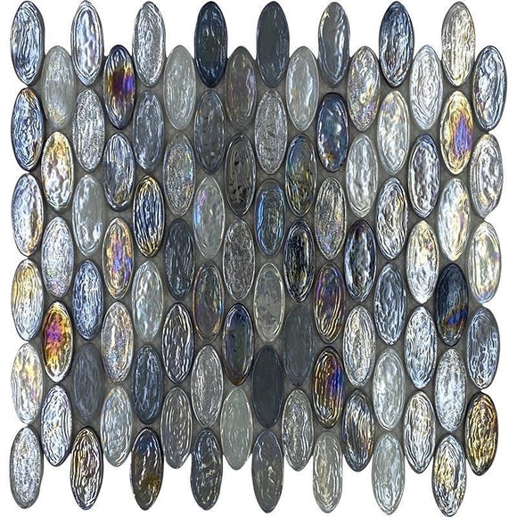 Grey drops oval glass mosaic tile