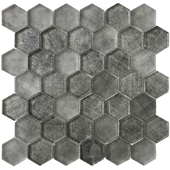 Grey Fabric Glass Hexagon Mosaic Tile | Tile Club | Position1