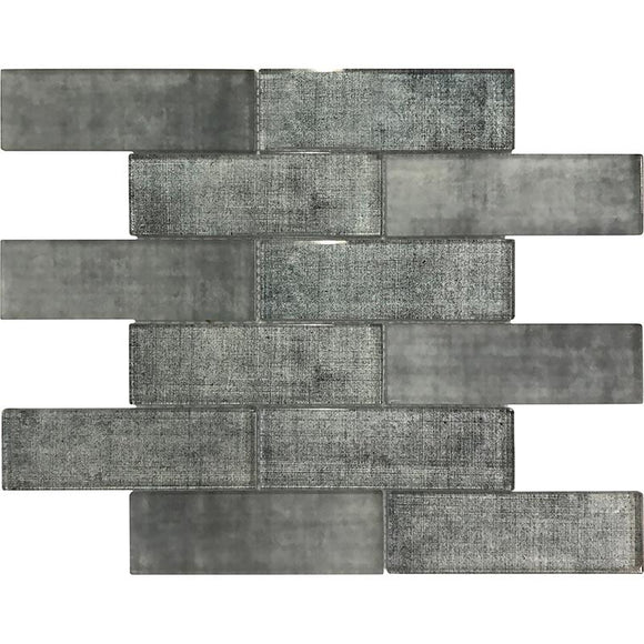Grey Fabric Glass Subway Mosaic Tile | Tile Club | Position1