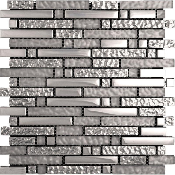Tile Club | Hipster Lines Mosaic Tile Silver Glass Tile position: 1