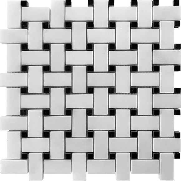 Honed Asian White Basket Weave with Nero Marquina Dot Marble Mosaic