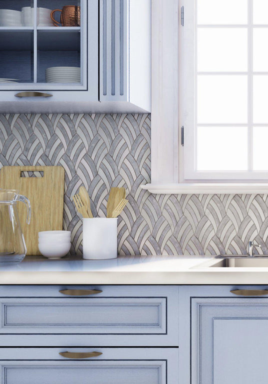 Blue and White Kitchen Design with Sail Azul Cielo Etched and Imperial White Marble Mosaic Tile Backsplash|Tile Club
