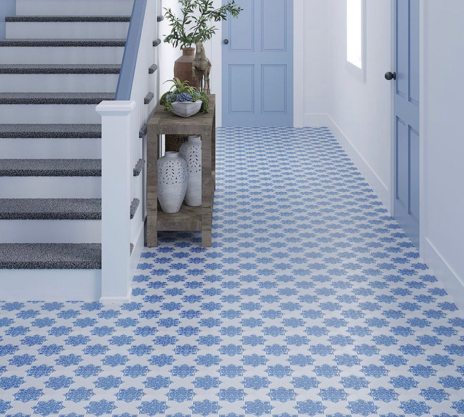 cross blue etched marble mosaic tile