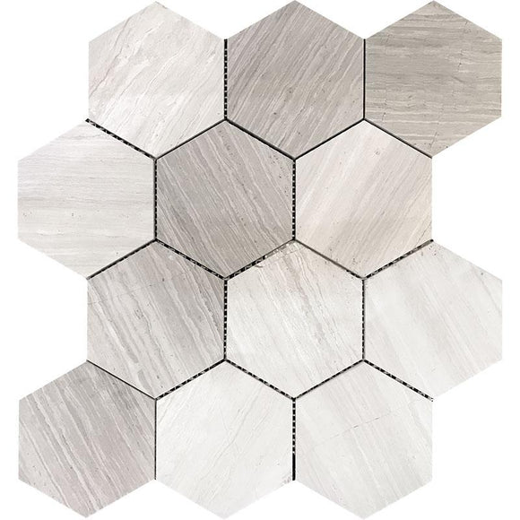 Inch Hexagon Wooden Beige Mrble Mosaic Tile | Tile Club | Position1