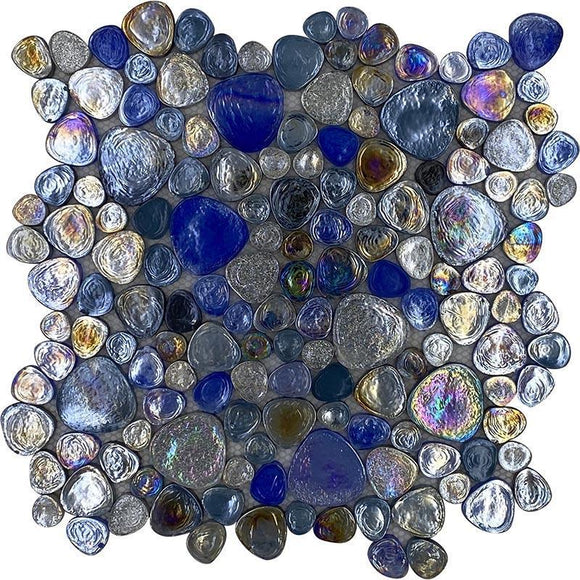 Irridescent glass pebble mosaic tile