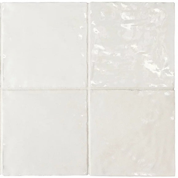 La Riviera Blanc White Glazed Ceramic Tile 5x5