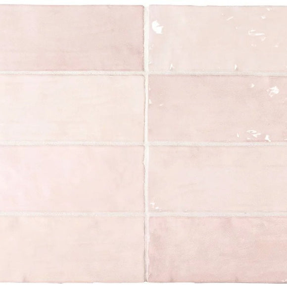 La Riviera Rose Pink Ceramic Subway Tile 2.5x8