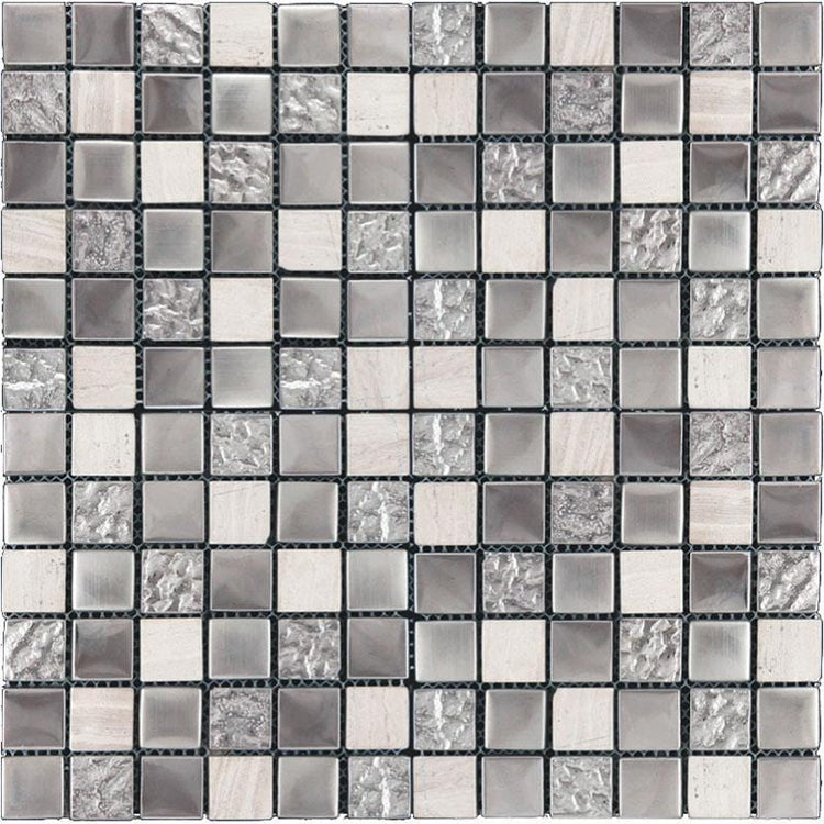 Tile Club | Lotus Grey Glass & Stone Mosaic Tile position: 1