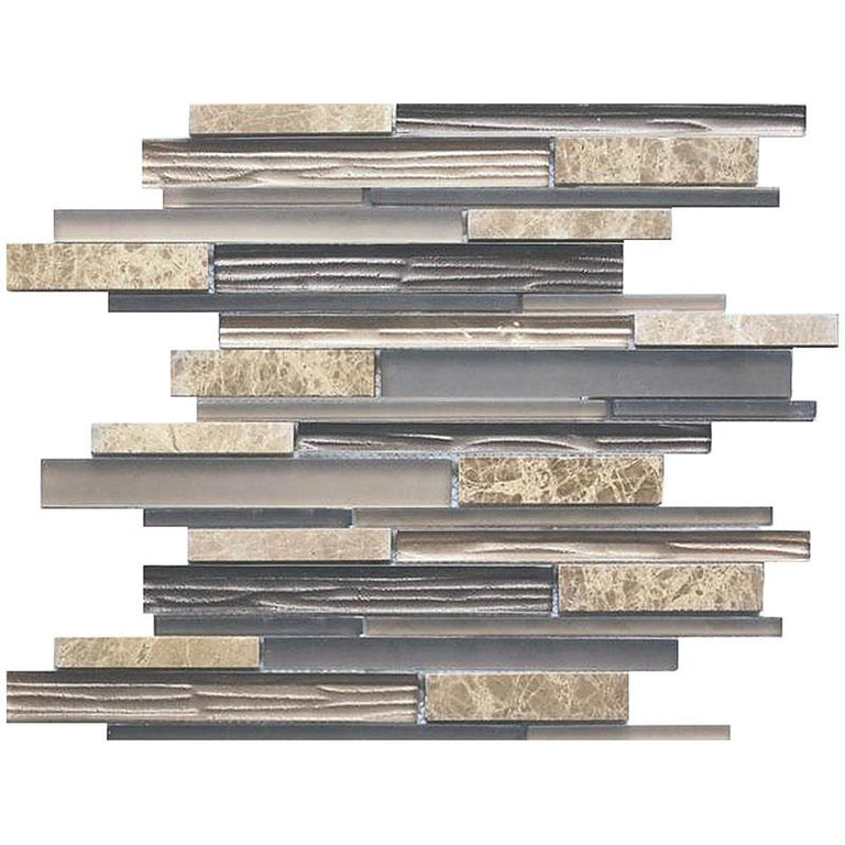 Matchstix Emperador Light Marble And Glass Mosaic Tile | Position1