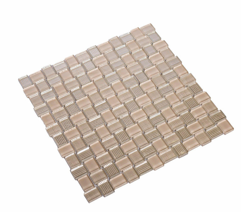 Mini Brick Beige Glass Mosaic Tile Position: 2
