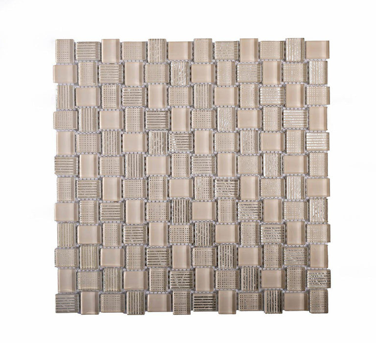Mini Brick Beige Glass Mosaic Tile Position: 1