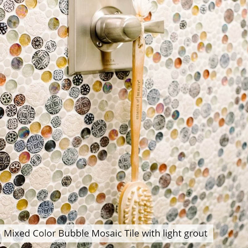 Mixed Bubble Tile on a Shower Wall with Light Grout