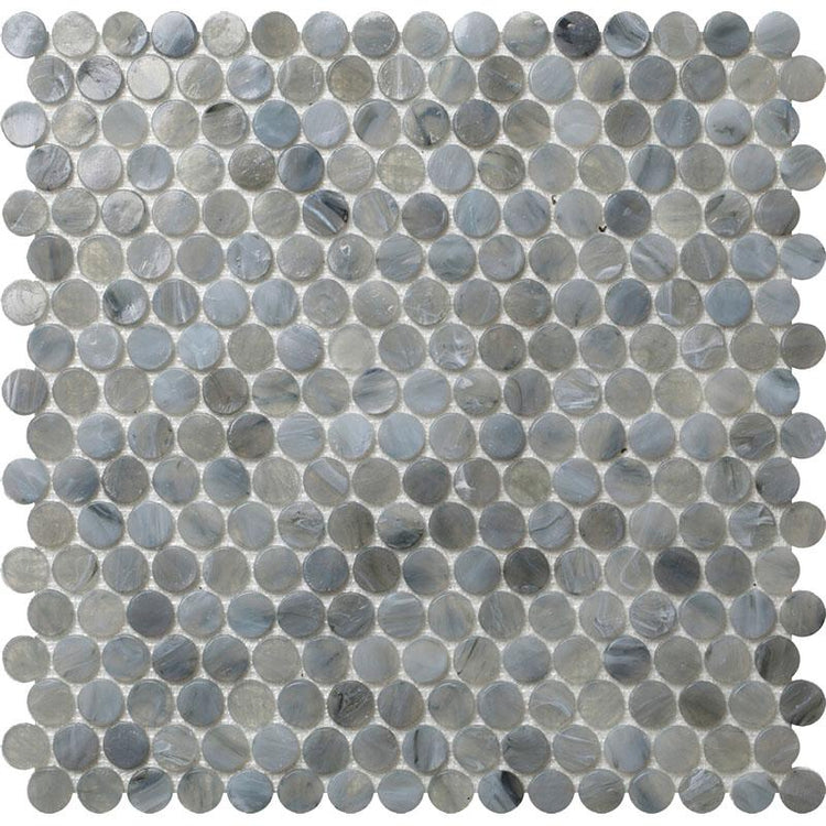 "12.2"" x 12.2"" Mixed Gray Penny Round Mosaic Tile 